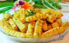 Slané sýrové tyčinky s bylinkami | NejRecept.cz Shrimp, Carrots, Food And Drink, Meat, Vegetables, Recipes, Veggies, Rezepte, Vegetable Recipes
