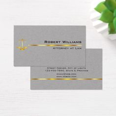 Attorney At Law Professional Simple Gold Legal Business Card Custom Legal Branding Office Products and Gifts #legal #lawyer #solicitor #law