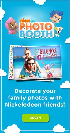 Decorate your family photos online with Dora, Bubble Guppies, Team Umizoomi and more with the Nick Jr. Photo Booth!