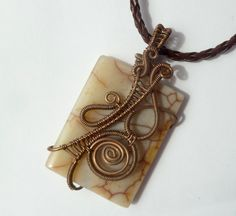 Agate wire wrapped pendant // copper jewelry by PillarOfSaltStudio
