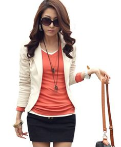 Keral Womens One Button Casual Blazer Jacket_Beige_L  - Click image twice for more info - See a larger selection of womens blazers at http://azdresses.com/category/blazers/ - - women, womens fashion, fashion ideas, blazers, womens clothing, clothes, mystyle, fashion, gift ideas « AZdresses.com