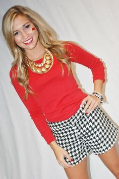 Houndstooth shorts & red.  Maybe not for me but Justine and Haley would look cute in these shorts.
