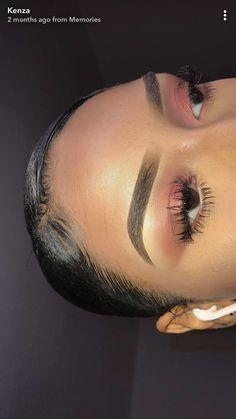 @kemsxdeniyi  slick back bun slick back hair slick bun sleek bun sleek hair middle part side part @6kenza kenza lashes eyebrows makeup edges laid Slay baby hairs edge control