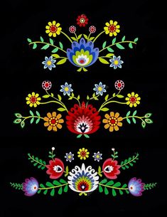 Flores mexicanas Once we approached the Flores & Prats company, we wanted to target on Polish Embroidery, Embroidery Patterns, Folk Art Flowers, Flower Art, Mexican Flowers, Polish Folk Art, Scandinavian Folk Art, Mexican Folk Art, Pattern Art