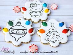 Christmas Paint Your Own Cookies. Loving the light bulbs as paint palates! Cookies For Kids, Fun Cookies, Cupcake Cookies, Decorated Cookies, Christmas Sweets, Noel Christmas, Christmas Baking, Holiday Baking, Holiday Fun