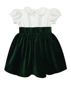 Another great find on #zulily! Green Velvet A-Line Dress - Infant, Toddler & Girls #zulilyfinds