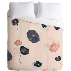 Dot & Bo Floating Flowers Duvet Cover (£100) ❤ liked on Polyvore featuring home, bed & bath, bedding, duvet covers, bedrooms, beds, flower bedding, pink bedding, flower stems and pink flower bedding