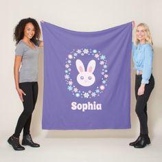 #Colorful Flowers Cute Bunny Rabbit Lavender Blue Fleece Blanket - #flower gifts floral flowers diy