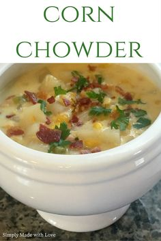 A few weeks ago, I tried the corn chowder from Panera Bread while out to lunch. I don& think I& ever had corn chowder before and it was. Panera Corn Chowder Recipe, Panera Bread Bowl, Slow Cooker Recipes, Crockpot Recipes, Soup Recipes, Cooking Recipes, Recipies, Copycat Recipes, Recipes Dinner