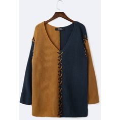 Yoins Blue And Brown Splicing Design V-neck Sweater (240 HKD) ❤ liked on Polyvore featuring tops, sweaters, blue, blue v neck sweater, long sleeve v neck top, v neck sweater, long sleeve sweater and v-neck sweater