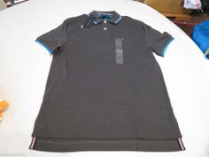Men's Tommy Hilfiger Polo shirt solid NEW 7845151 Asphalt 024 XL gray grey NWT #TommyHilfiger #polo