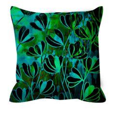 EFFLORESCENCE Deep Green Turquoise Blue Floral Art by EbiEmporium
