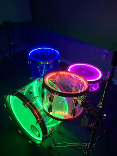 70s Ludwig vistalite drums customized with LEDs.