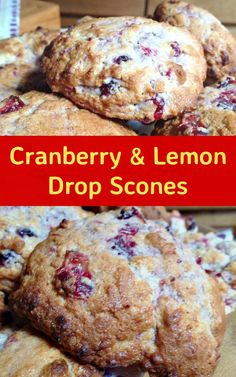 Cranberry and Lemon Drop Scones! Gosh, this is a lovely recipe! It's very easy and uses simple ingredients and can be made very quickly. Carina has kindly shared her recipe for these scones, using left Canned Cranberry Sauce, Cranberry Recipes, Holiday Recipes, Holiday Snacks, Thanksgiving Recipes, Recipe Using Cranberries, Drop Scones Recipes, Breakfast Scones, Breakfast Ideas