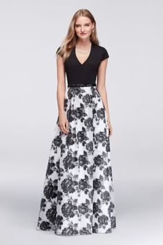 The perfect balance of simple and striking, this cap-sleeve organza ball gown is finished with a keyhole back, beaded belt, and a floral skirt.  By Ignite  Polyester, spandex, nylon  Back zipper  Dry clean; fully lined  Imported