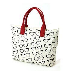 Retro Eyeglasses Print On Canvas Tote Bag Beige
