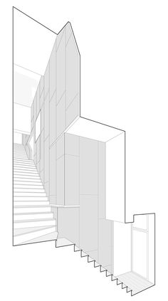 London studio PATALAB Architecture made the most of the space inside this awkward-shaped residence in the north of the city by running a staircase along the entire rear wall and adding a door that folds around a corner Architecture Panel, Architecture Graphics, Concept Architecture, Architecture Drawings, Architecture Details, Planer Layout, Architectural Section, London Apartment, Models