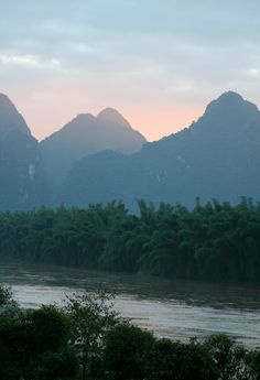 Day 162: The karst rock formations at sunset, Li River, Yangshuo.