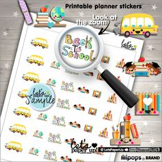 Back to School, Stickers, Printable Planner Stickers, School Stickers, College Stickers, Labels School, Kawaii Stickers, Planner Accessories