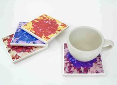 Colorful Flower Resin Coaster Set