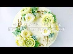 Ranunculus Buttercream flower wreath cake - how to make by Olga Zaytseva / CAKE TRENDS 2017 #7 - YouTube