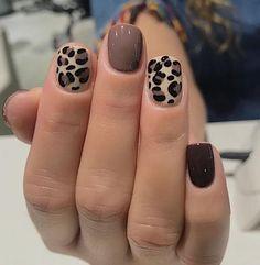 Cute Acrylic Nails, Cute Nails, My Nails, Cute Short Nails, Metallic Nails, Glitter Nail Polish, Fall Nail Art Designs, Simple Nail Designs, Cheetah Nail Designs