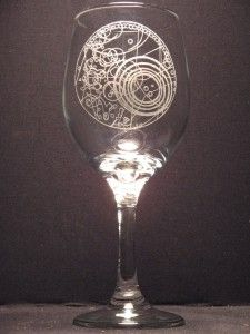 Hand engraved wine glass with Dr. Who image.