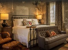 Beautiful bed we converted to king size for the amazing Emma Hotel in San Antonio Texas.