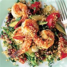 Prawn and avocado quinoa salad recipe. Quinoa is perfect mixed with prawns and herbs – if you are barbecuing, then griddle the prawns instead and stir into the quinoa.