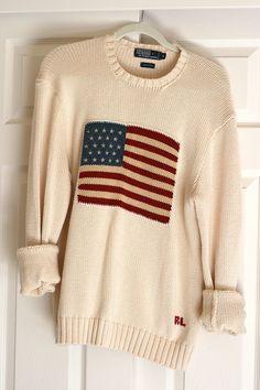 Men's Knit American Flag Sweater