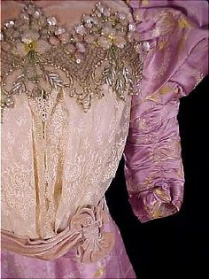 Antique Dress - c. 1893 Spectacular Lavender, Silver and Gold Silk Jacquard Brocade 2-piece Gown with Velvet, Beads, Sequins, Lace, and Pearls.