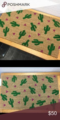 Cactus Door Mat Crazy cute custom hand painted cactus doormat. Can do other colors upon request!                   Tags: southwest, bohemian, porch, western, pink, triangle, rug, gypsy, summer, serape, Cowgirl, cowboy, pineapple, flamingo, pool, bathing suit Other