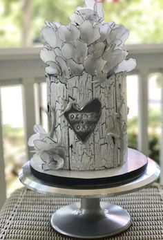 Olive Oak cake with wafer paper hearts and crackle effect
