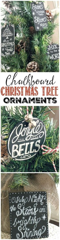Chalkboard Christmas tree ornaments using your favorite Christmas songs!