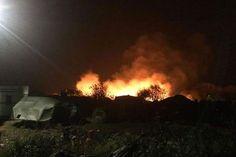 Calais refugee camp on fire
