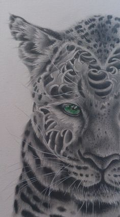 Tattoo leopard : artwork by NUE. #drawing #illustration #animal #leopard