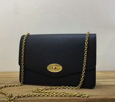 Mulberry bags 2017 2017 Mulberry Small Darley Clutch Shoulder Bag Black  Grain Leather 4343394dd6