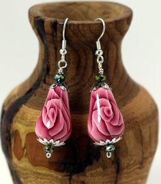 Pink Rose Teardrop  Earrings by OrdinaryWomen on Etsy