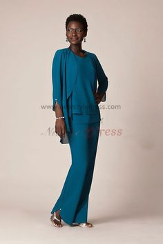 2014 Blue Chiffon Three Piece mother of the bride pants suits With jacket nmo-053