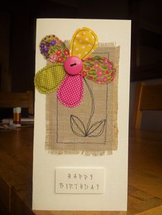 Hand made machine sewn flower birthday card made with Moda fabrics, burlap & a button