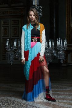Fausto Puglisi | Pre-Fall 2017 | AucciKnitting | Knitting | Knitting project | Moda | Knitwear 2018 | Girl  | Cardigan stricken | Cardigans outfit | Cardi nähen | Coat stricken anleitung | Stricken | Stricken deutsch | Stricken anleitungen | Кардиган | Card dress | Knit for fall | Knitting weather | Hand made | Multicolor | Aran | Cable | Knitz | Cozy