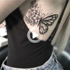 Tatuagem feminina, tatuagem, tatoo lace butterfly tattoo, butterfly tattoo on shoulder, spine Mini Tattoos, Body Art Tattoos, Small Tattoos, Sleeve Tattoos, Tattoo Art, Tatoos, Thigh Tattoos, Tattoo Shop, Arm Tattoo