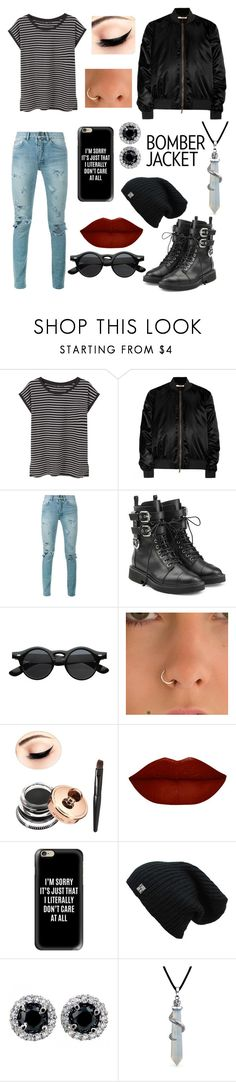 """black bomber jacket"" by lennox-ali ❤ liked on Polyvore featuring MANGO, Givenchy, Yves Saint Laurent, Giuseppe Zanotti, ZeroUV, Casetify, Bling Jewelry and bomberjackets"