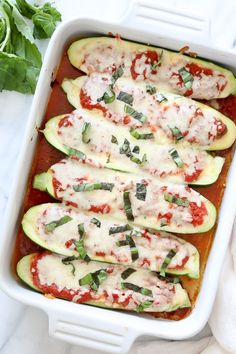 Veggie Lasagna Zucchini Boats | Skinnytaste