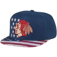 Chicago Blackhawks Reebok Patriotic Snapback Adjustable Hat - Navy