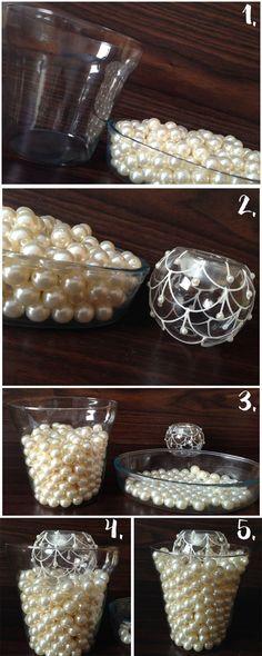 Vaso Decorativo com Pérolas