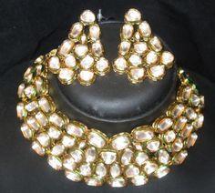 KUNDAN CHOKER gold tone NECKLACE EARRING meenakari  JEWELRY SET  #ETHNICINDIA