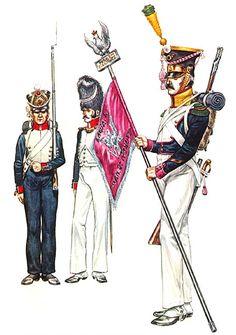 """Duchy of Warsaw"" • Fusilier, 9th Line Regt. • Grenadier Officer, 9th Line Regt. • Voltigeur sergeant, 2nd Line Regt., with regimental standard, 1812"