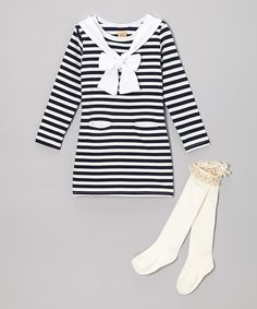 Take a look at this Navy & White Stripe Bandanna Dress & Knee Socks - Toddler & Girls by Mia Belle Baby on #zulily today!
