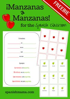 Apples to Apples // Manzanas a Manzanas. Practice adjectives and ser and get your students speaking in the target language with this fun game. Adjective cards are provided and the noun cards are blank for your class to personalize and fill in. Spanish Lessons For Kids, Spanish Basics, Spanish Games, Spanish Vocabulary, Spanish 1, Learn Spanish, French Lessons, Learn French, Spanish Classroom Activities